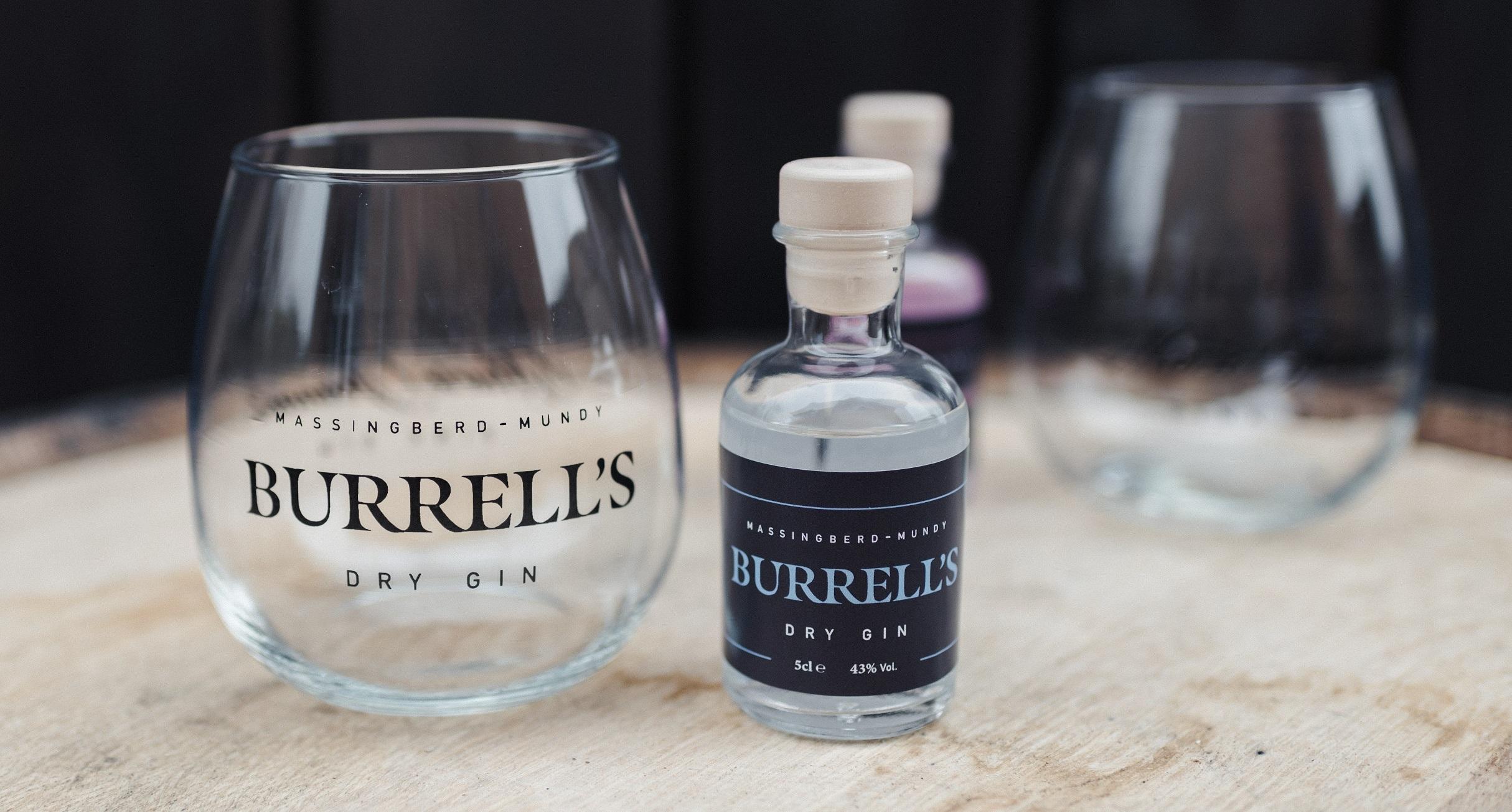 Burrell's London Dry Gin alongside a stemless balloon glass