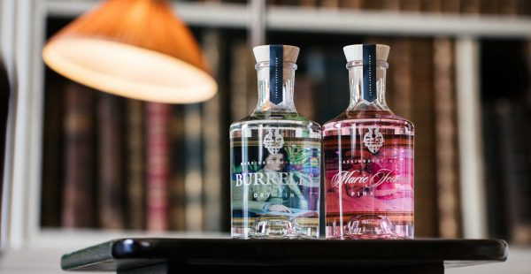 Marie Jeanne Pink Gin and Burrell's Dry Gin in the library