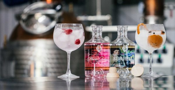 Marie Jeanne Pink Gin and Burrell's Dry Gin in the distillery