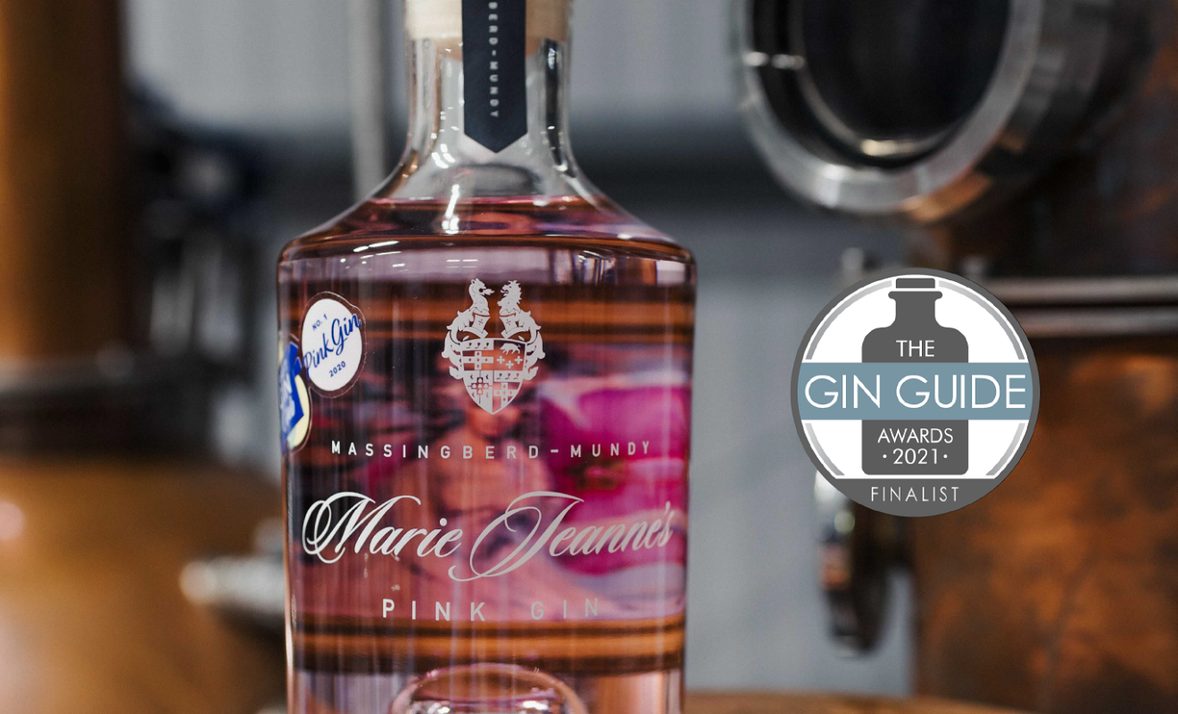Marie Jeanne Pink Gin has been named as a finalist in The Gin Guide Awards 2021