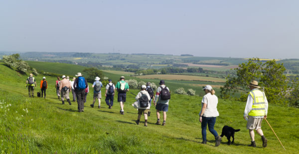 A group walking in the Lincolnshire Wolds