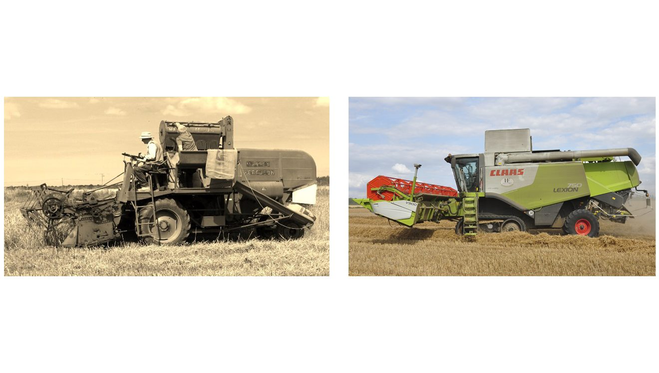 old & new combines