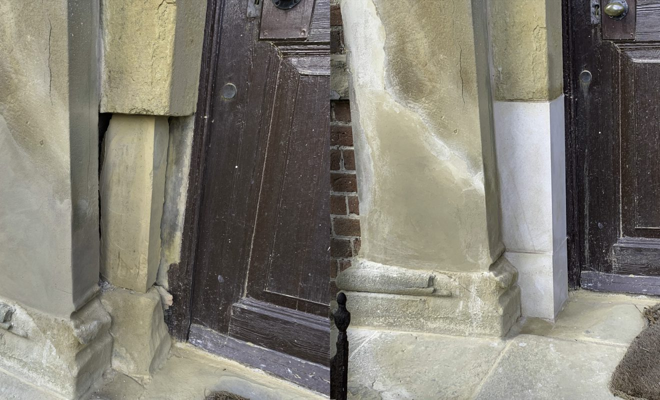 The replacement of damaged stone column at the Estate's front door