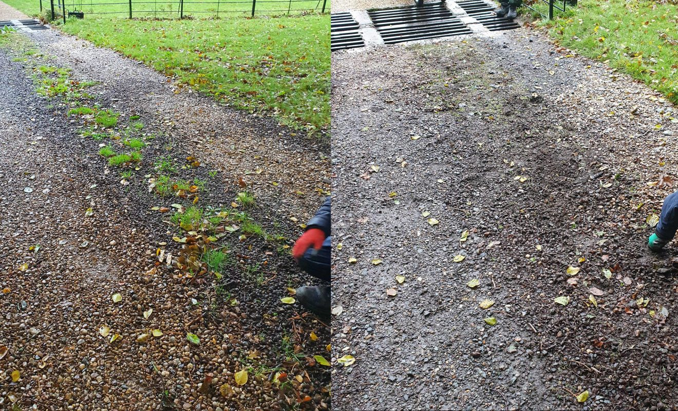 Before and after photos of the Estate drive being weeded